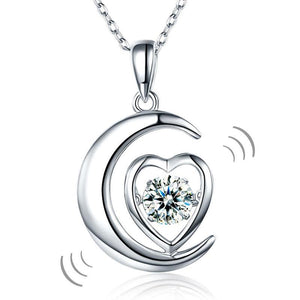 Rebel. Dancing Stone Moon Heart Pendant Necklace 925 Sterling Silver Good for Bridal Bridesmaid Gift XFN8056