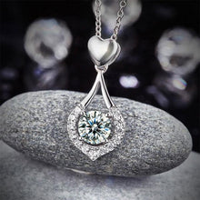 Load image into Gallery viewer, Rebel. Heart Tear Drop Pendant Necklace 925 Sterling Silver Jewelry Created Diamond XFN8059