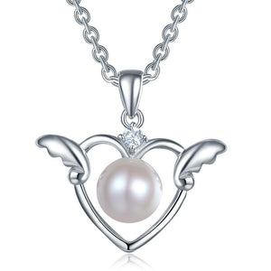 Rebel. Kids Girl Angel Heart Pendant Necklace 925 Sterling Silver Children Jewelry XFN8072