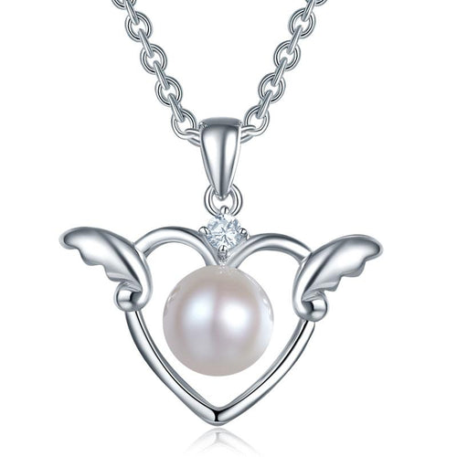 Kids Girl Angel Heart Pendant Necklace 925 Sterling Silver Children Jewelry XFN8072