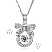 Load image into Gallery viewer, Ribbon Dancing Stone Pendant Necklace 925 Sterling Silver Good for Wedding Bridesmaid Gift XFN8073