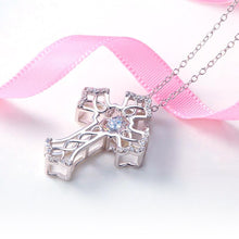 Load image into Gallery viewer, Vintage Style Cross Dancing Stone Pendant Necklace 925 Sterling Silver XFN8080