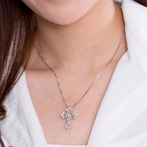 Vintage Style Cross Dancing Stone Pendant Necklace 925 Sterling Silver XFN8080
