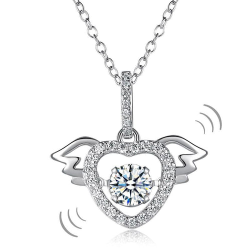 Heart Angel Wing Dancing Stone Pendant Necklace 925 Sterling Silver Good for Wedding Bridesmaid Gift XFN8081
