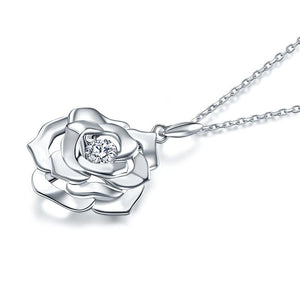 Rose Dancing Stone Pendant Necklace 925 Sterling Silver Good for Wedding Bridesmaid Gift XFN8087