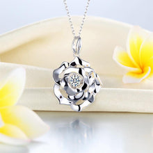 Load image into Gallery viewer, Rose Dancing Stone Pendant Necklace 925 Sterling Silver Good for Wedding Bridesmaid Gift XFN8087