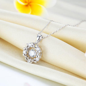Dancing Stone Pendant Necklace 925 Sterling Silver Ribbon Flower XFN8089