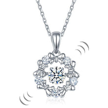 Load image into Gallery viewer, Dancing Stone Pendant Necklace 925 Sterling Silver Ribbon Flower XFN8089