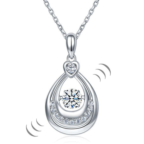 Dancing Stone Water Drop Pendant Necklace 925 Sterling Silver Birthday Gift XFN8092