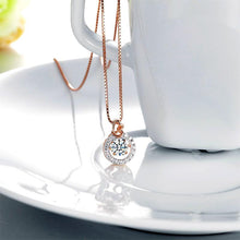 Load image into Gallery viewer, Rebel. Dancing Stone Pendant Necklace Solid 925 Sterling Silver Rose Gold Plated
