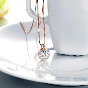 Rebel. Dancing Stone Pendant Necklace Solid 925 Sterling Silver Rose Gold Plated