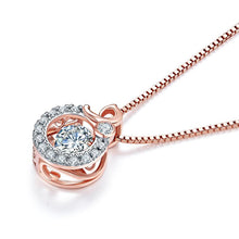 Load image into Gallery viewer, Dancing Stone Pendant Necklace Solid 925 Sterling Silver Rose Gold Plated