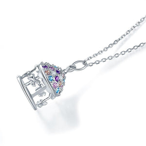Rebel. Multi-Color Merry-Go-Round Pendant Necklace Solid 925 Sterling Silver Jewelry XFN8112
