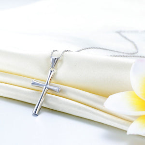 Solid 925 Sterling Silver Cross Pendant Necklace