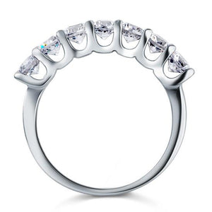 Rebel. 1.75 Carat Seven Stone Solid 925 Sterling Silver Wedding Ring Jewelry XFR8043