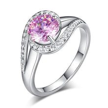 Load image into Gallery viewer, Twist Curl 925 Sterling Silver Wedding Engagement Ring 1.25 Ct Fancy Pink Created Diamond XFR8244