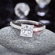 Load image into Gallery viewer, 1.5 Ct Princess Cut Created Diamond 925 Sterling Silver Wedding Ring Engagement Promise Anniversary XFR8247