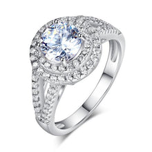 Load image into Gallery viewer, Rebel. Double Halo 925 Sterling Silver Wedding Engagement Ring 1.25 Ct Created Diamond Promise Anniversary XFR8253