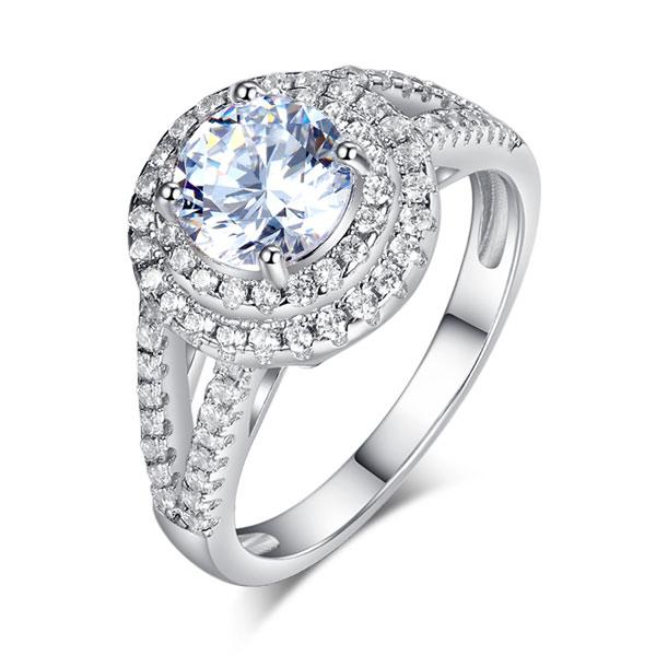 Rebel. Double Halo 925 Sterling Silver Wedding Engagement Ring 1.25 Ct Created Diamond Promise Anniversary XFR8253