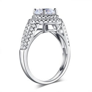 Double Halo 925 Sterling Silver Wedding Engagement Ring 1.25 Ct Created Diamond Promise Anniversary XFR8253