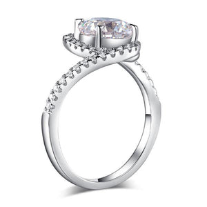 Rebel. Twist Curl 925 Sterling Silver Wedding Engagement Ring 2 Ct Created Diamond XFR8261