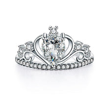 Load image into Gallery viewer, Rebel. Solid 925 Sterling Silver Crown Ring 1 Carat Pear Cut for Lady Trendy Stylish Jewelry XFR8278
