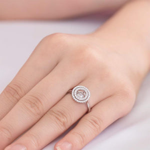 Dancing Stone Double Halo Solid 925 Sterling Silver Ring Fashion Wedding Jewelry XFR8285
