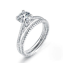 Load image into Gallery viewer, Rebel. Promise Engagement 2-PC Solid Sterling 925 Silver Twist Solitaire Ring Set Bridal Jewelry XFR8291