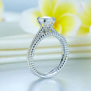 Promise Engagement 2-PC Solid Sterling 925 Silver Twist Solitaire Ring Set Bridal Jewelry XFR8291