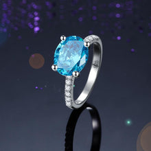 Load image into Gallery viewer, Solid 925 Sterling Silver 4 Carat Anniversary Ring Blue Oval Party Luxury Jewelry XFR8303