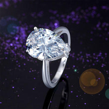 Load image into Gallery viewer, Solid 925 Sterling Silver Luxury Ring Solitaire Pear 4.5 Carat Wedding Engagement Party Pageant Jewelry XFR8306