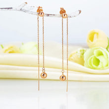 Load image into Gallery viewer, Rebel. Solid 18K/750 Rose Gold Dangle Ball 2 -way of Wearing Earrings