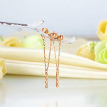 Load image into Gallery viewer, Solid18K/750 Rose Gold Long Line Dangle Earrings