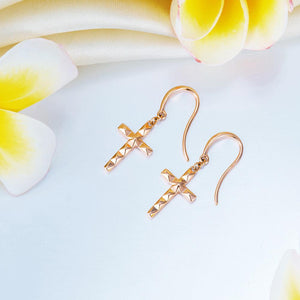 Rebel. Solid 18K/750 Rose Gold Dangle Cross Earrings