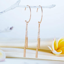 Load image into Gallery viewer, Rebel. Solid 18K/750 Rose Gold Dangle Hook Stylish Earrings