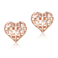 Load image into Gallery viewer, Solid 18K/750 Rose Gold Heart Stud Earrings