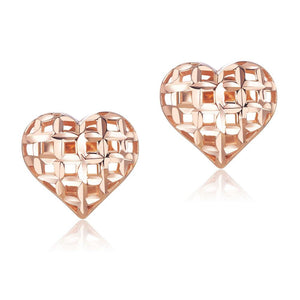 Solid 18K/750 Rose Gold Heart Stud Earrings