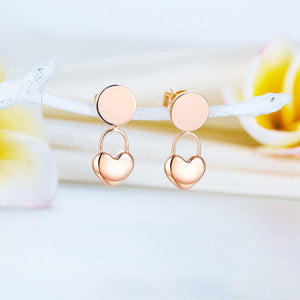 Rebel. Copy of Solid 18K/750 Rose Gold Classic Heart  Stud Earrings