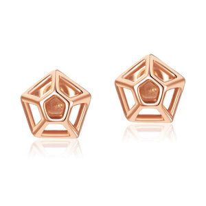 Solid 18K/750 Rose Gold Geometric Stud Earrings
