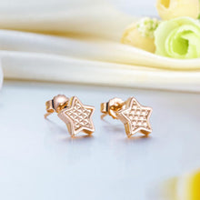 Load image into Gallery viewer, Rebel. Solid 18K/750 Rose Gold Star Stud Earrings