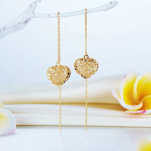 Load image into Gallery viewer, Solid 18K/750 Yellow Gold Long Line Heart Dangle Earrings