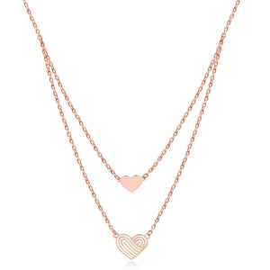 Solid 18K/750 Rose Gold Double Chain Hearts Necklace