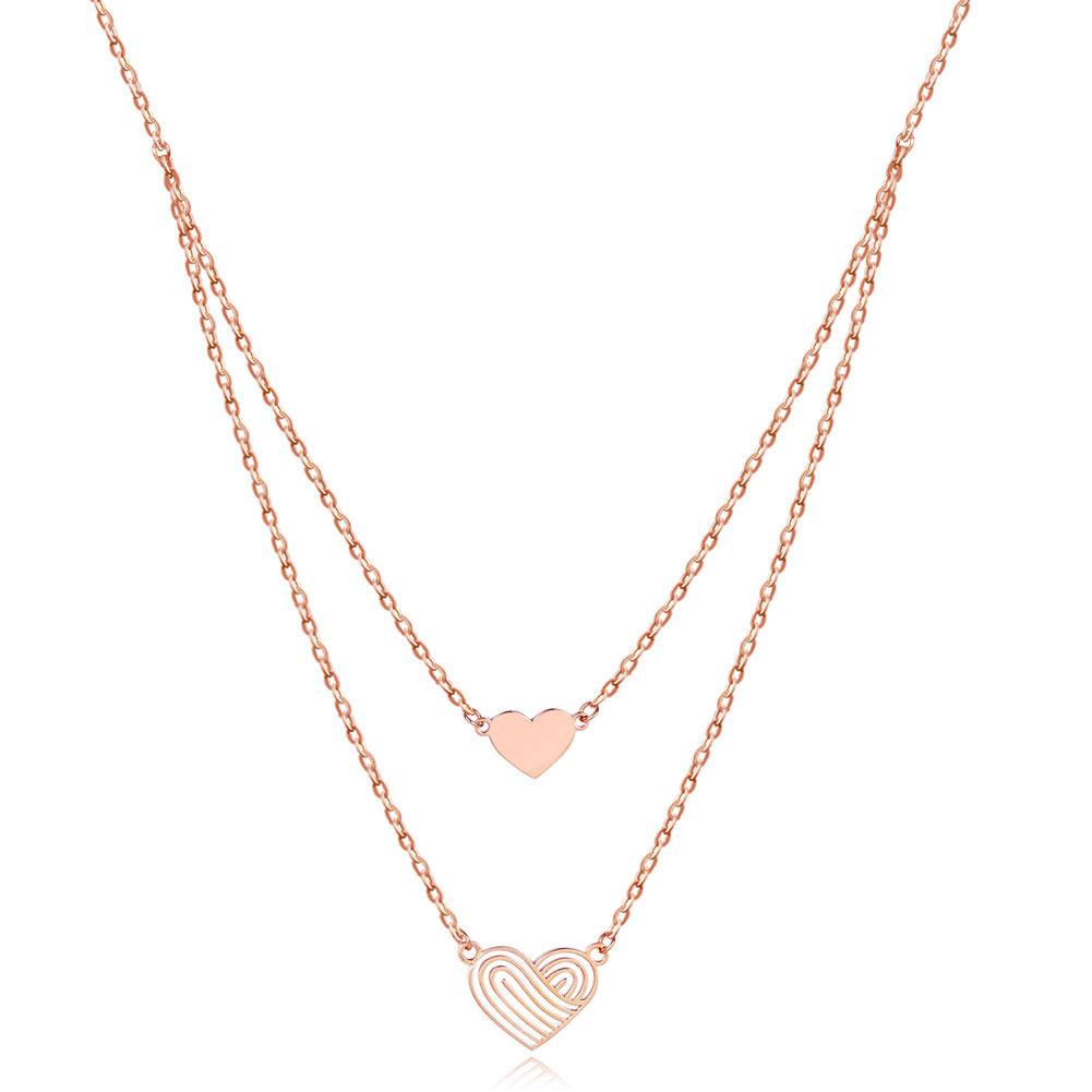 Rebel. Solid 18K/750 Rose Gold Double Chain Hearts Necklace