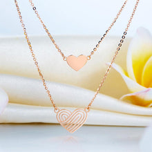 Load image into Gallery viewer, Rebel. Solid 18K/750 Rose Gold Double Chain Hearts Necklace