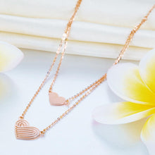 Load image into Gallery viewer, Solid 18K/750 Rose Gold Double Chain Hearts Necklace