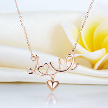 Load image into Gallery viewer, Rebel. Solid 18K/750 Rose Gold  Love Letter Heart Necklace