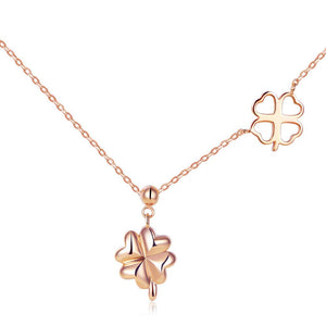 Solid 18K/750 Rose Gold Clovers Necklace