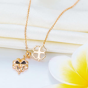 Rebel. Solid 18K/750 Rose Gold Clovers Necklace