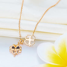 Load image into Gallery viewer, Solid 18K/750 Rose Gold Clovers Necklace