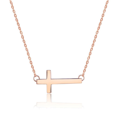 Solid 18K/750 Rose Gold Cross Necklace